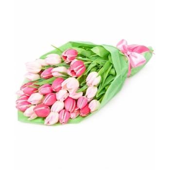 """Букет из белых и розовых тюльпанов """"Лиловый"""""""