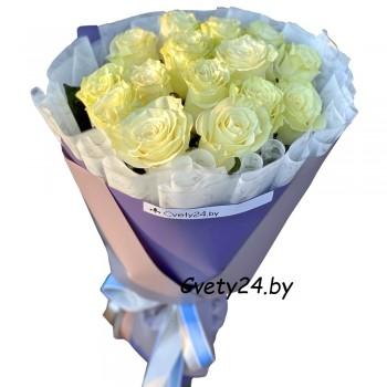 """Букет из белых роз """"Жемчужный"""""""