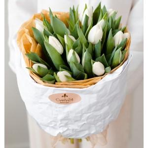 """Букет из белых тюльпанов """"Рассвет"""""""