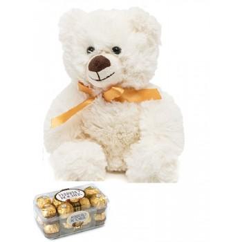"""""""Плюшевый белый мишка и коробка конфет Ferrero Rocher"""""""